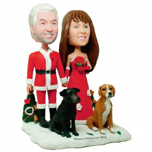 custom christmas couple with two pets bobblehead