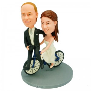 custom cycling theme wedding cake topper