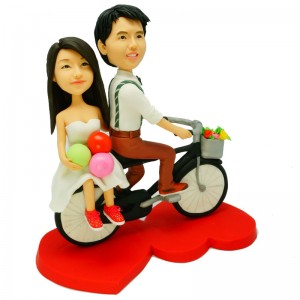 custom cyclist wedding cake topper