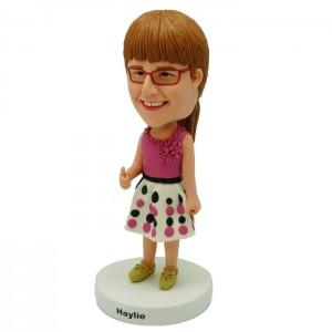 custom thumb up girl bobblehead