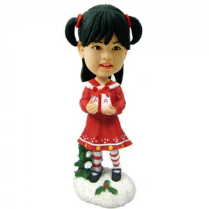customized christmas bobble head kid with gift