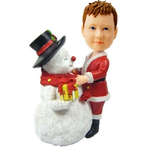 customized christmas bobblehead child with large snowman