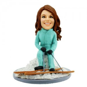 customized skiing lady bobblehead