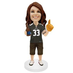 football female fans custom bobblehead holding a bottle of beer