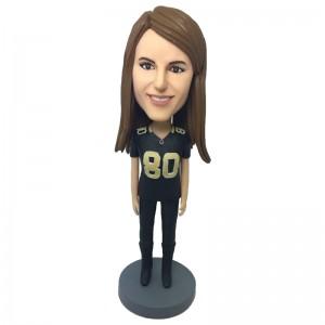 personalised amerin football female fan bobblehead