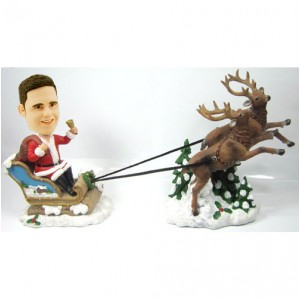 personalised christmas bobble head male with reingeer and sled