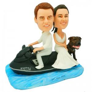 personalize jet ski wedding bobblehead with a dog