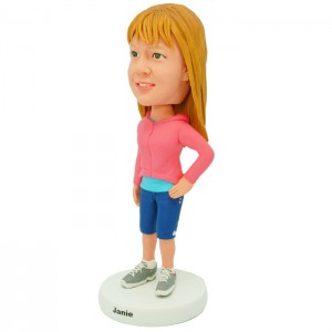 personalized casual girl bobblehead