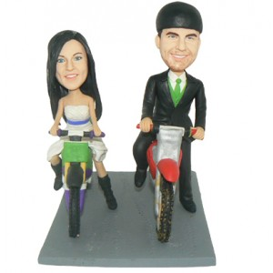 personalized dirtbike couple cake topper