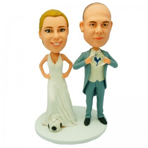 personalized soccer theme wedding cake topper